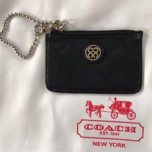 Coach NWT Nylon Skinny ID case in Silver and Black